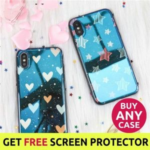 NEW iPhone XS/X/7/8/7+/8+ Glossy Star Heart Case